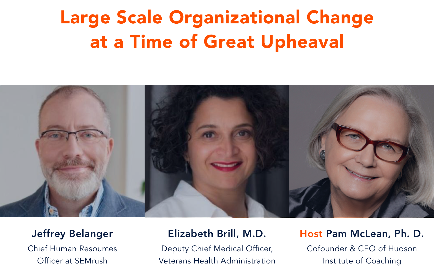 Preview Image for Hudson Coaching Conversations: Large Scale Organization Change at a Time of Great Upheaval with photos of panelists, Jeffrey Belanger, Elizabeth Brill M.D., and Pam McLean Ph.D.
