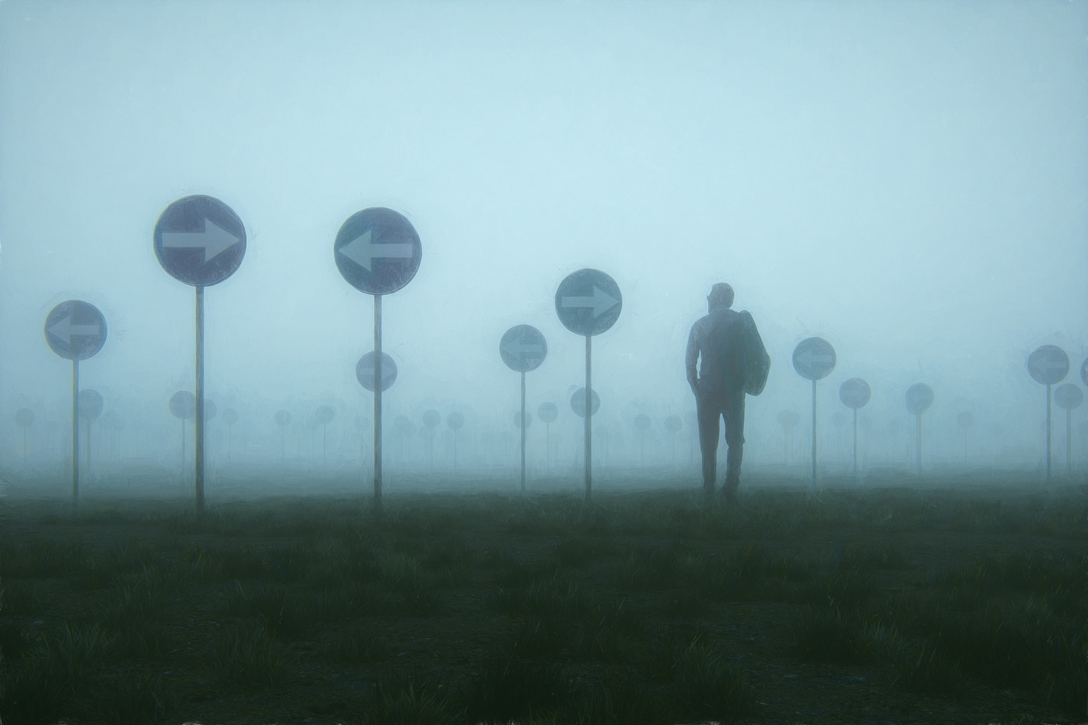 How can you move forward when you can't see very far ahead? A man walks through the fog, ready to pivot.